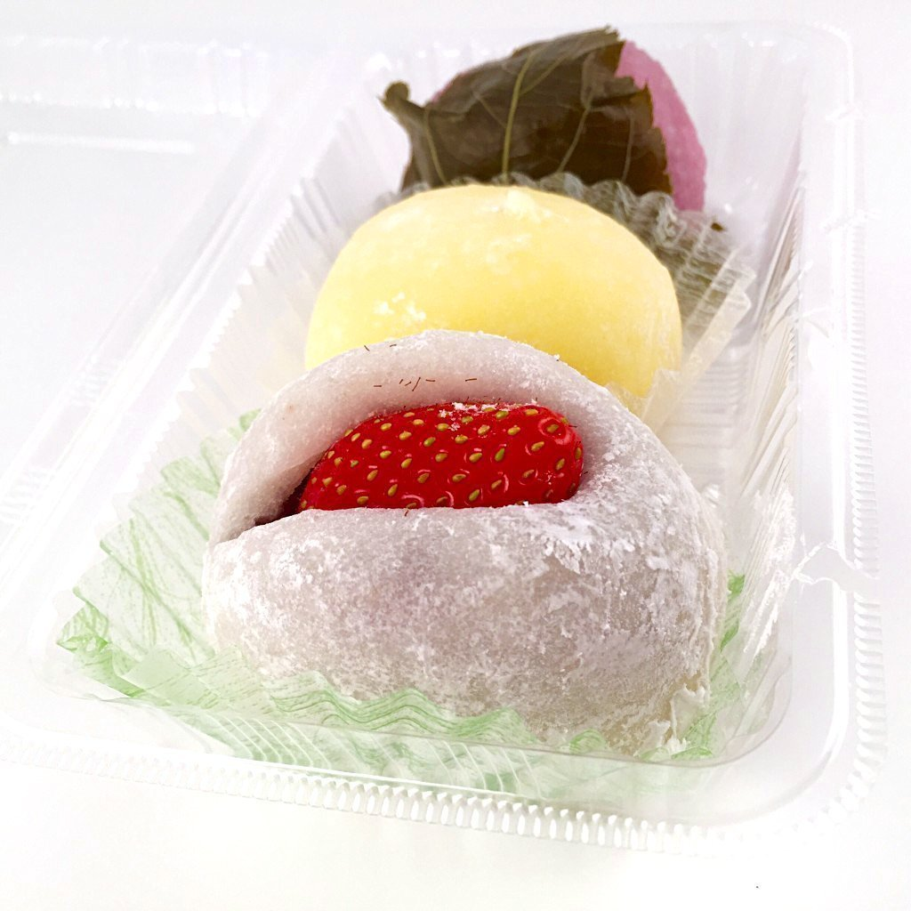 Japanese confectionery: (From front) Ichigo Daifuku, Cream Cheese Daifuku and Sakuramochi