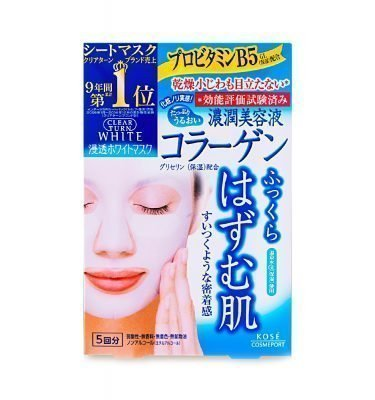 Kose Clear Turn Face Mask White Collagen 5 Sheets