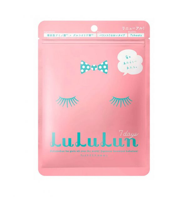 Lululun Face Mask Balance Moisture Type 7 Days Pink Made in Japan