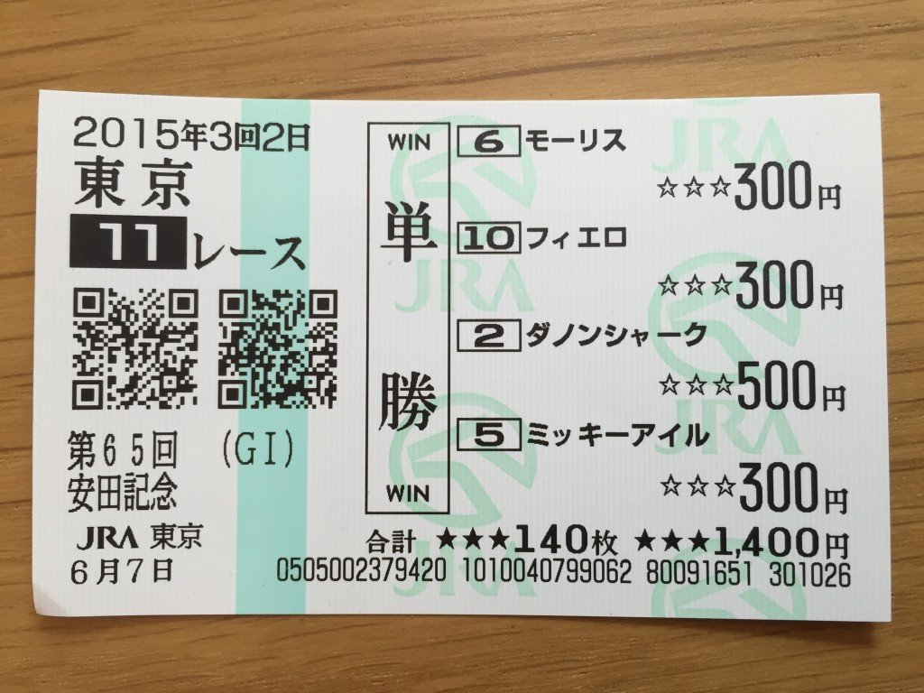 Ticket buying four wins (this is a winning ticket;-)