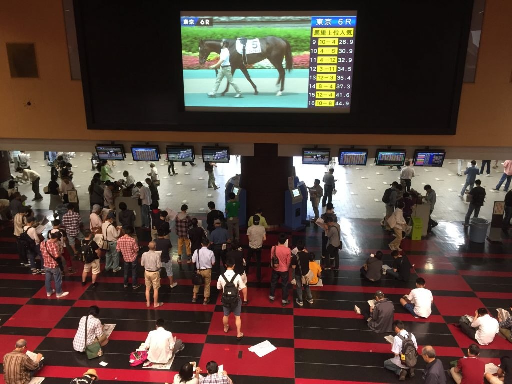 Many wide screens inside Fuji View Stand