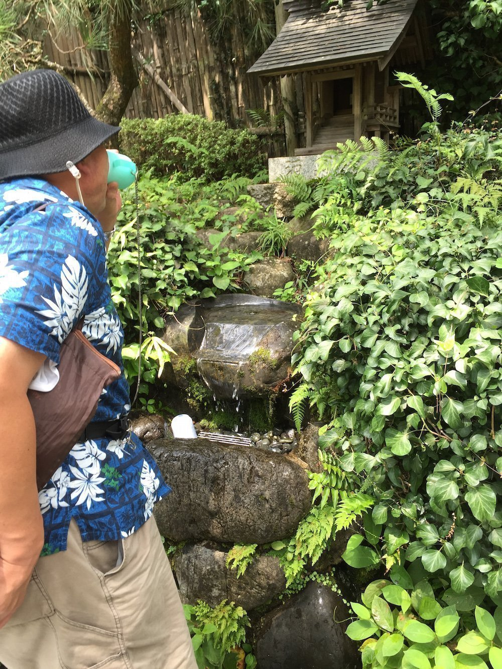 A drinking well for visitors at the Sawanoi Garden