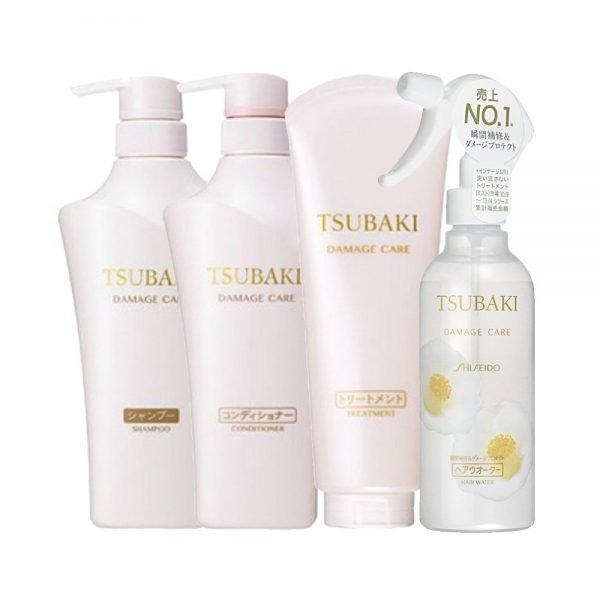 SHISEIDO Tsubaki Set of 4 Damage Care - Shampoo, Conditioner, Treatment and Water Spray