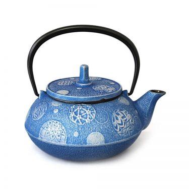 IWACHU Nanbu Cast Iron Teapot - Testubin Handmade Mari Series Blue