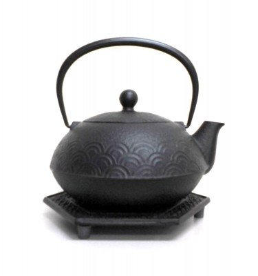 IWACHU Nanbu-Tekki Cast Iron Teapot:Kettle and Coaster - Ocean Wave