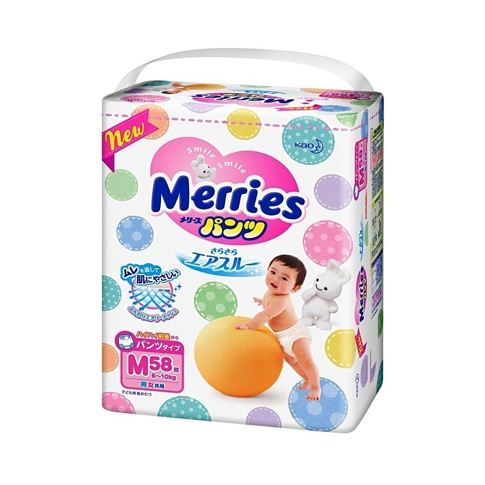 KAO Merries Nappies - Sarasara Air Through M-Size 6 - 10kg
