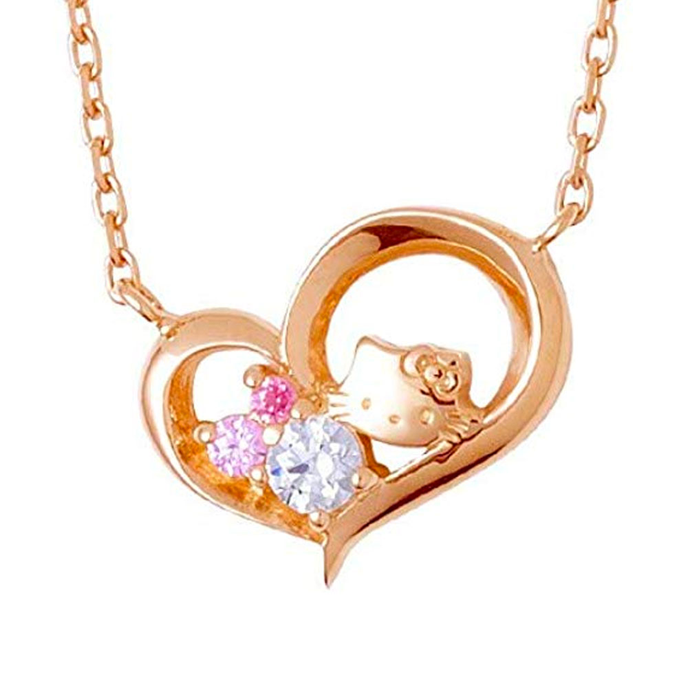 HELLO KITTY The Kiss 2015 Christmas Edition - Kitty Face and Jewel Heart Necklace