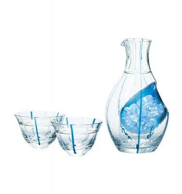 Cold Sake Set – Ice Pocket Blue Stripes