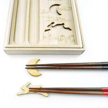HYOZAEMON Chopsticks Moon and Happy Usagi Rabbit Pair Set Red and Black
