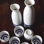 Mino Ware Sake Set Double Tokkuri - Janome Double Ring