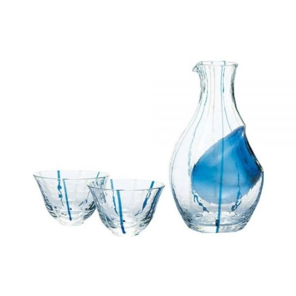Cold Sake Set - Ice Pocket Blue Stripes