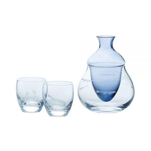 TOYO SASAKI GLASS Cold Sake Set Ice Pocket Blue Made in Japan