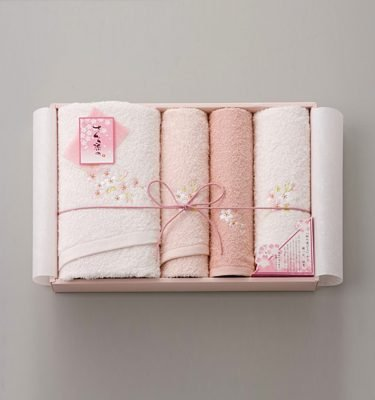 Sakura Dye Bath & Face Towel Gift Set - 100% Cotton Made in Japan