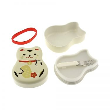TATSUMIYA Two-Tiered Bento Box - White Maneki Neko Lucky Cat