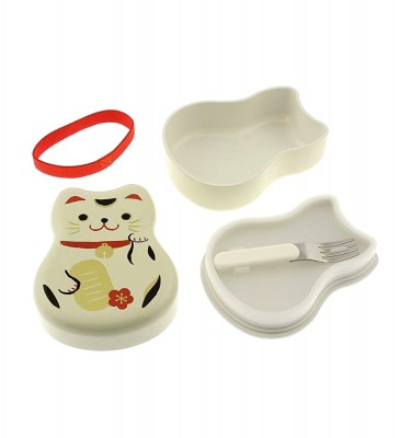 TATSUMIYA Two-Tiered Bento Box - White Maneki Neko Lucky Cat
