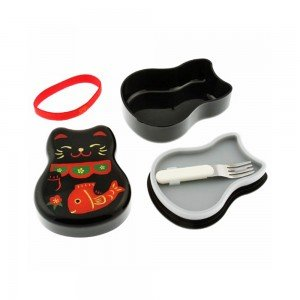 TATSUMIYA Two-Tiered Bento Box - Black Maneki Neko Lucky Cat