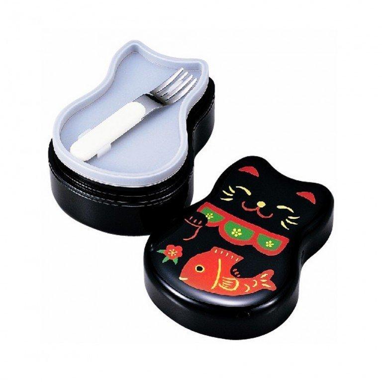 TATSUMIYA Two-Tiered Bento Box - Black Maneki Neko Lucky Cat
