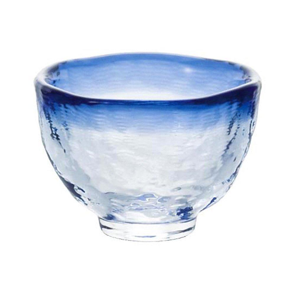 Tsugaru Vidro Sake Cup Blue - Handmade Heat-Resistant Glass Large x 2