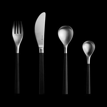 SORI YANAGI Dessert Black Cutlery Set - Wooden Birch Tree Handles