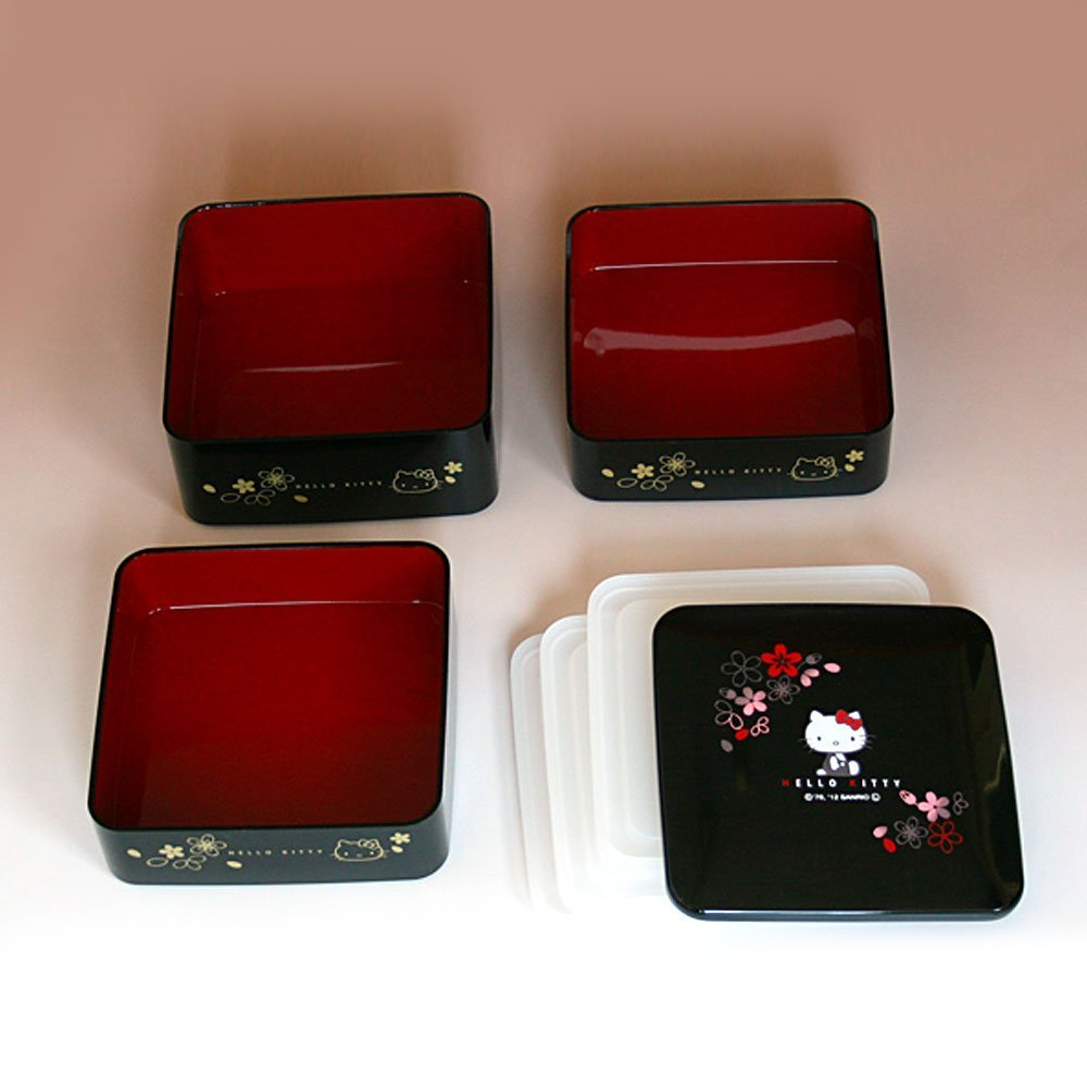 Hello Kitty Triple Lacquer Box Sakura Box Made in Japan