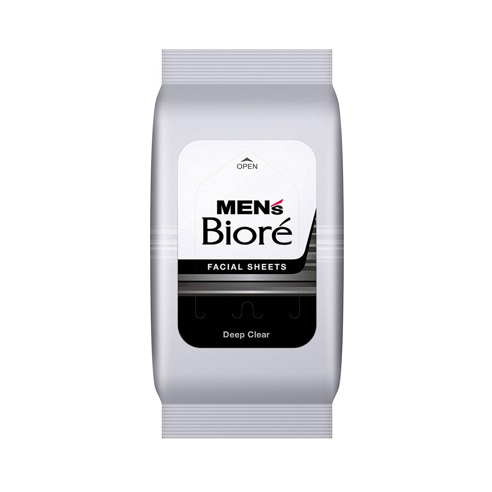 Kao Mens Biore Facial Wash Sheet Deep Clear 22 Sheets Made In Shampoo Complete Soft Care Men 340 Ml 48