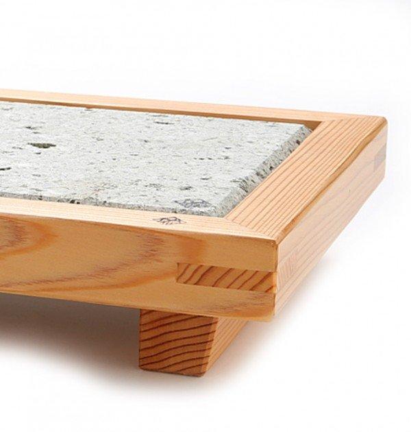 Nikko Cedar & Oya Stone Serving Plate Large – Handmade by Craftsman World Heritage Site