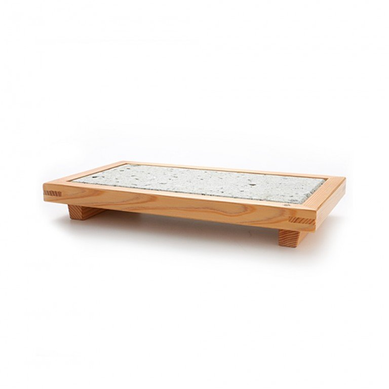 Nikko Cedar & Oya Stone Serving Plate Large – Handmade by Craftsman World Heritage Site