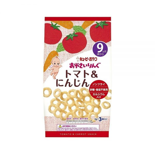 KEWPIE Vegetable Ring Snacks from 9 Months on - Tomato and Carrot 4g x 3 Bags