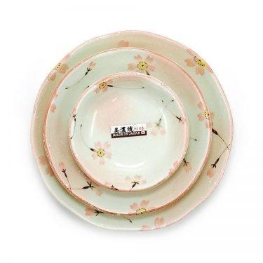 Mino Yaki Ware - Sakura Plate Triple Set