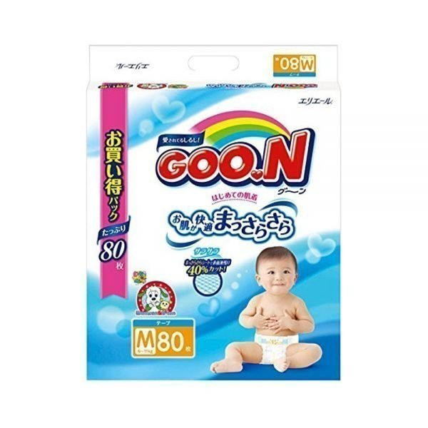 Elleair GOO.N Diapers Medium Size 6 - 11kg - 80 Sheets with Tape Straps