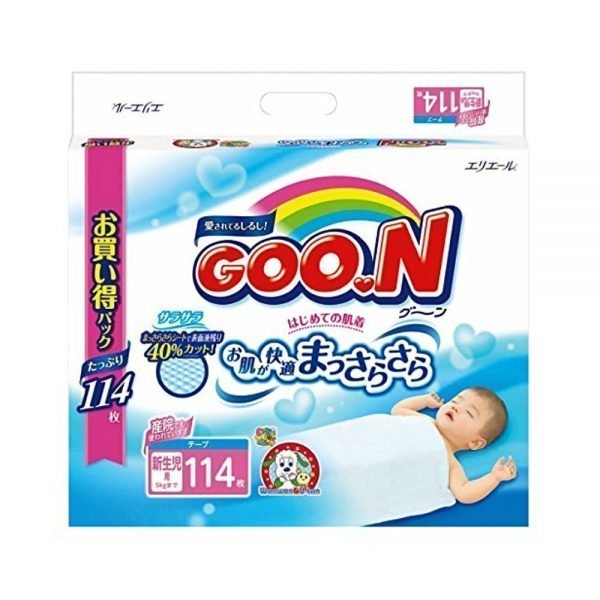 Elleair GOO.N Diapers Newborn up to 5kg - 114 Sheets with Tape Straps