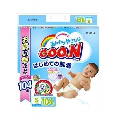 Elleair GOO.N Diapers Small Size 4 - 8kg - 104 Sheets with Tape Straps