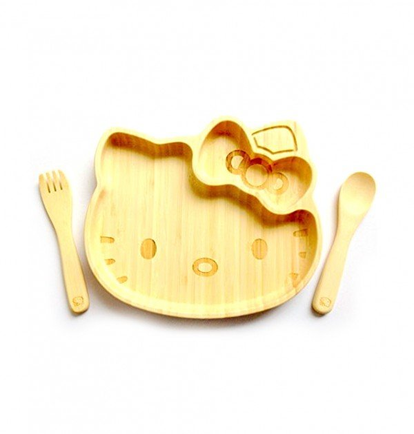 HELLO KITTY Bamboo Lunch Plate with Fork and Knife