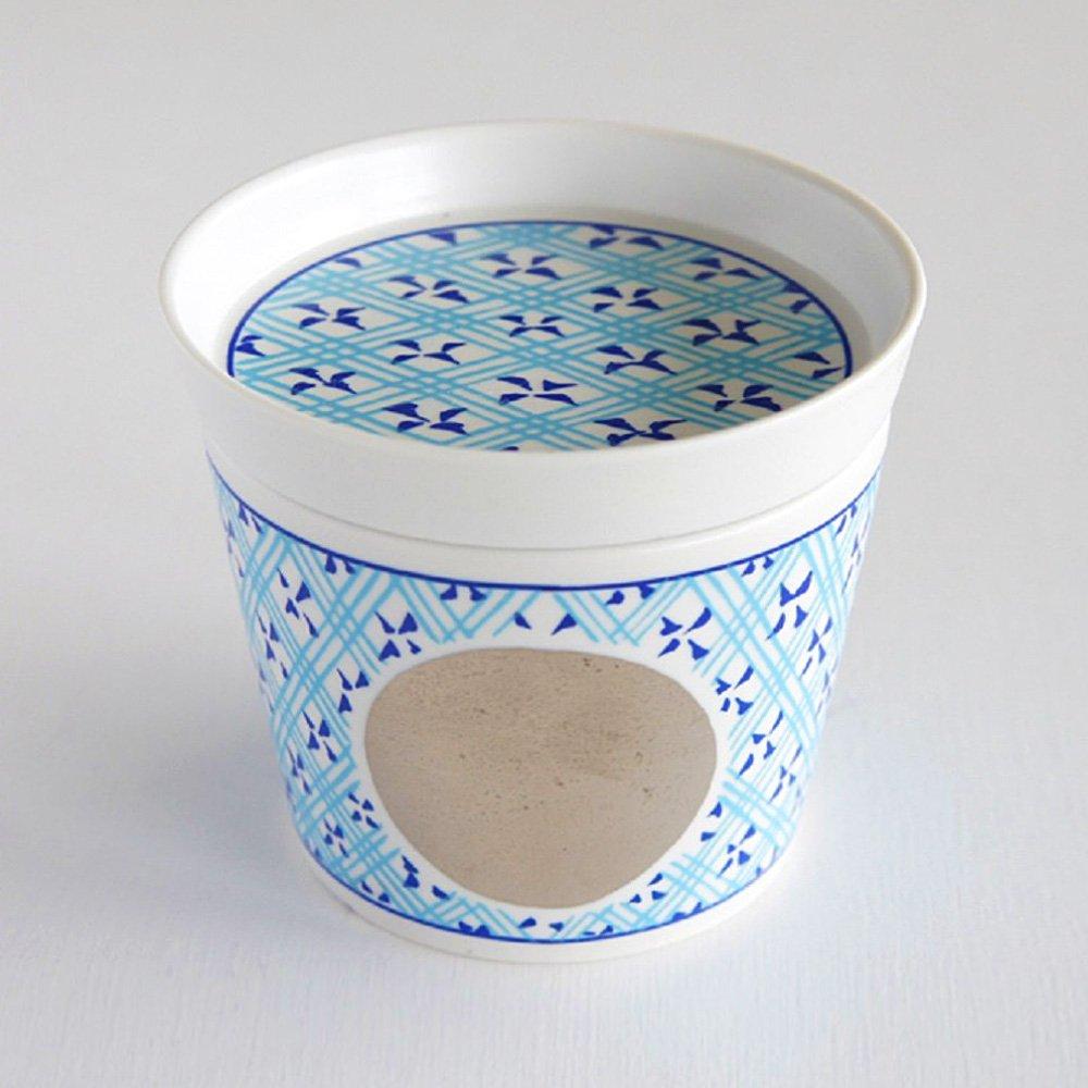 JAPAN BLUE Arita Platinum Porcelain Condiment Plate - Circle Crest