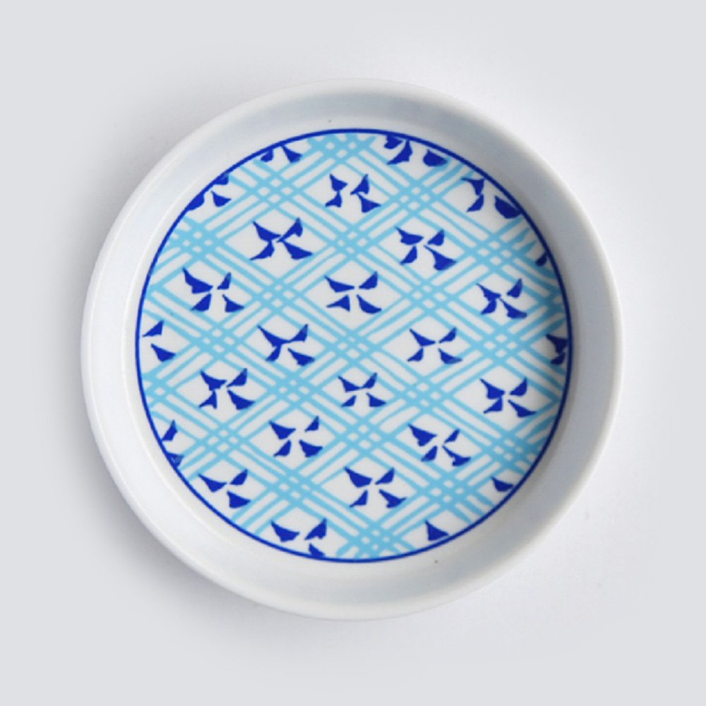 JAPAN BLUE Arita Platinum Porcelain Condiment Plate - Circle Crest
