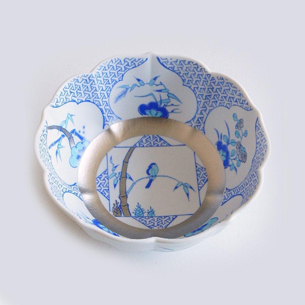 JAPAN BLUE Arita Platinum Porcelain Small Bowl - Triangle Garami Crest