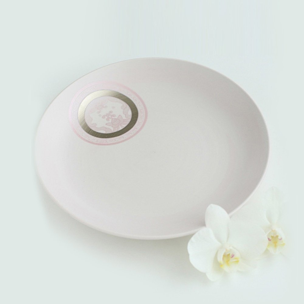 JAPAN CHERRY Arita Platinum Porcelain Plate - Ko-Imari Wildflower Crest
