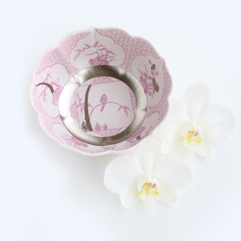 JAPAN CHERRY Arita Platinum Porcelain Small Bowl - Silver Grass Bamboo & Peony