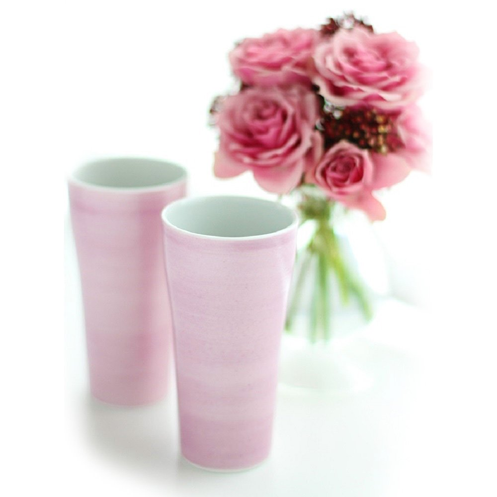 JAPAN CHERRY Arita Porcelain Tumbler Cup x 2 - Double-Flowered Sakura Cherry