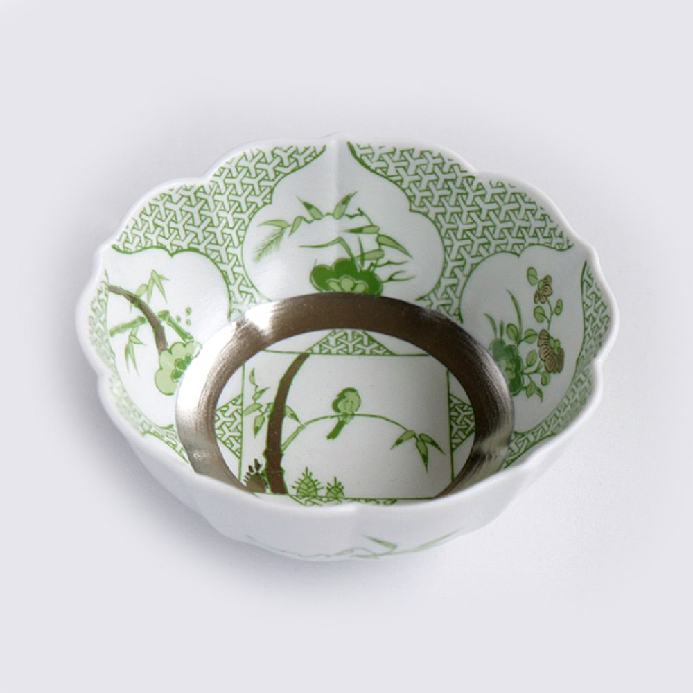 JAPAN GREEN TEA Arita Porcelain Small Bowl – Triangle Garami Crest