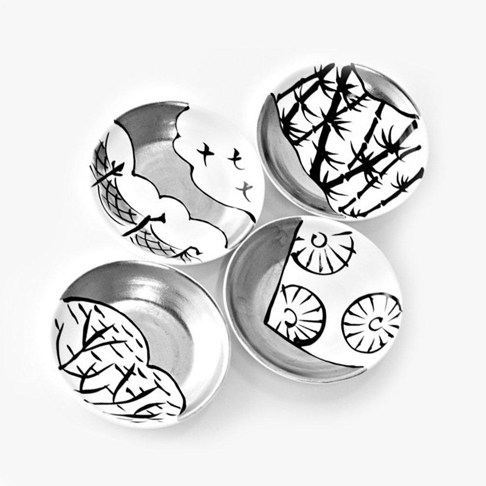 JAPAN SNOW Longevity Arita Platinum Porcelain - Set of 4 Small Plates