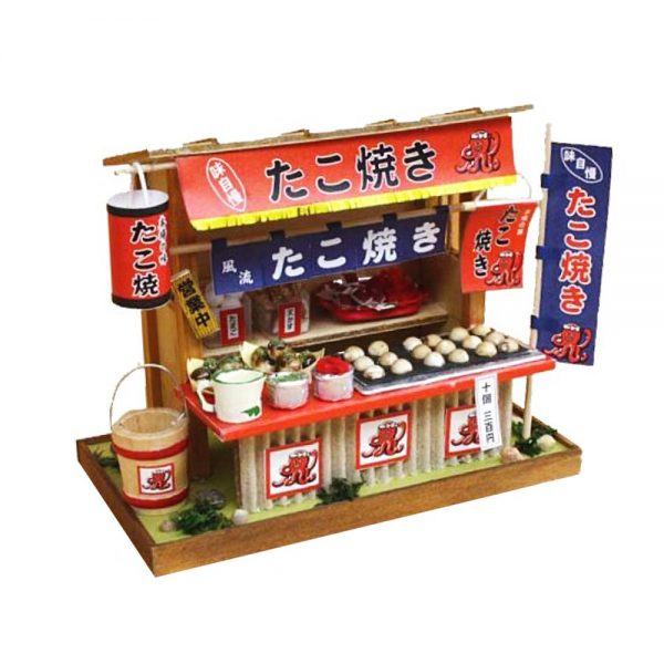 Japanese Dollhouse Kit - Takoyaki Octopus Ball Stall from Showa Era