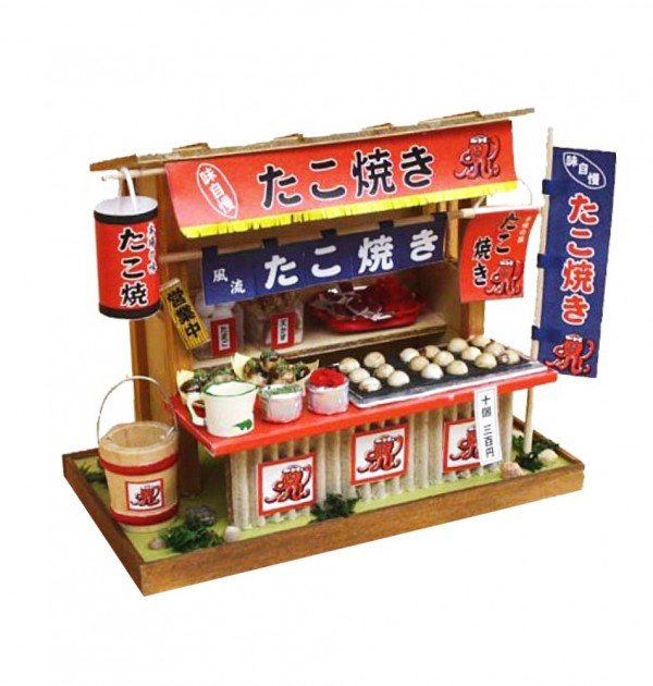 Japanese Dollhouse Kit - Takoyaki Octopus Ball Stall from Showa Era