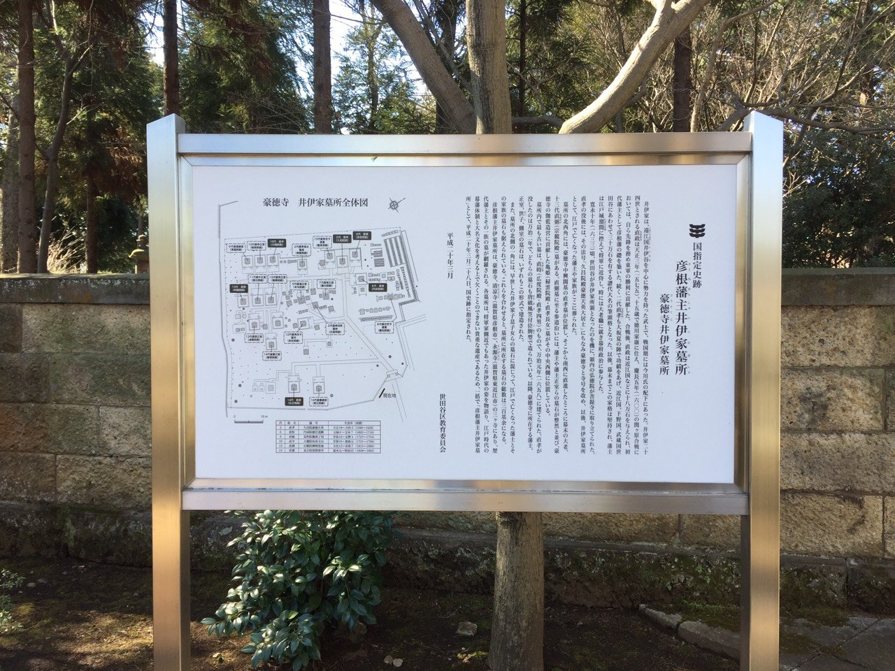 Map of the Ii family's graveyard at Gotoku-ji