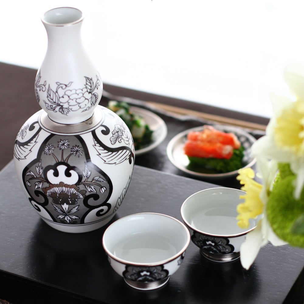 JAPAN SNOW Arita Platinum Porcelain - Tokkuri Sake Server