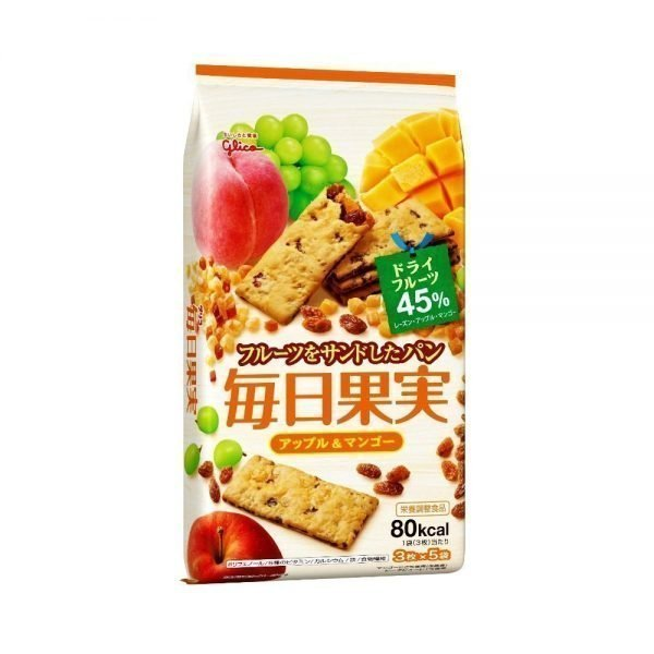 GLICO Mainichi Kajitsu Crackers - Apple & Mango 15pcs 80 kcal