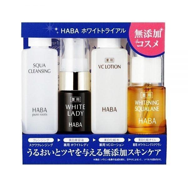 HABA White Trial Bonus Set - Squa Cleansing, White Lady, VC Lotion & Whitening Squalane