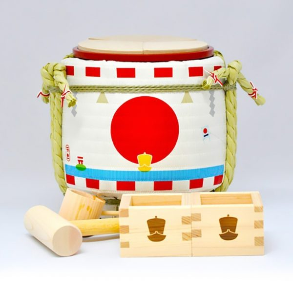 KISHIMOTO Mini Sake Handmade Barrel - Kagamibiraki Party Set