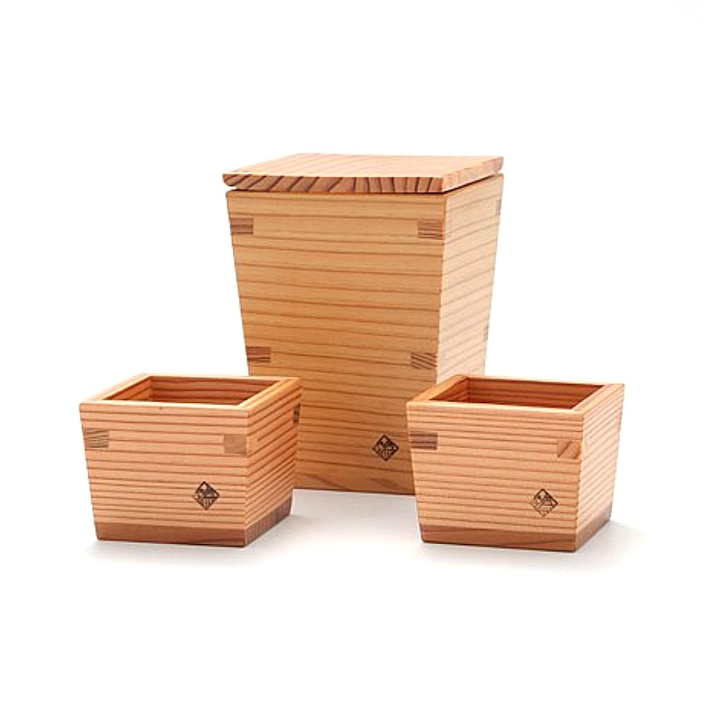 Nikko Cedar Masu Sake Cup & Tokkuri Set - Small