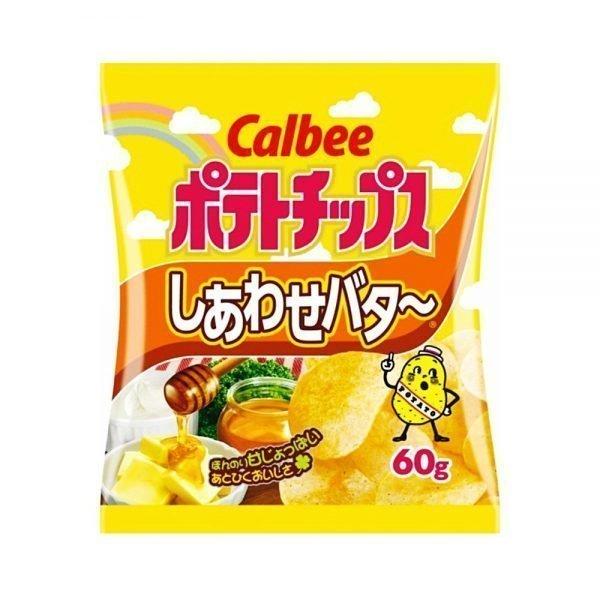 CALBEE Potato Chips Happy Butter - 60g x 12 Bags